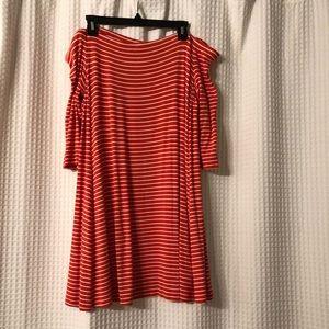 Never worn orange off the shoulder swing dress